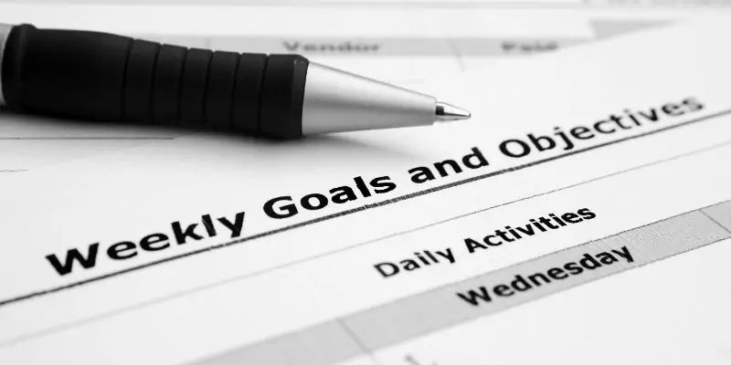 productive weekly checklist and goals