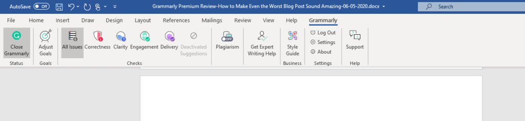 Grammarly Premium Review toolbar