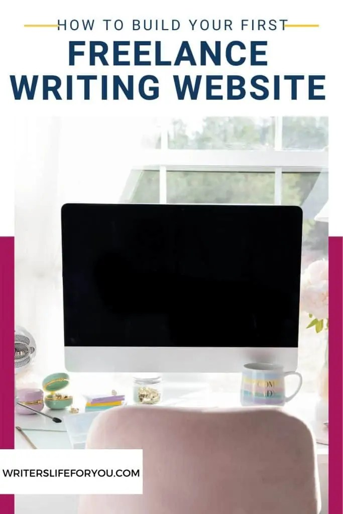 freelance writing website desktop on desk in front of a window