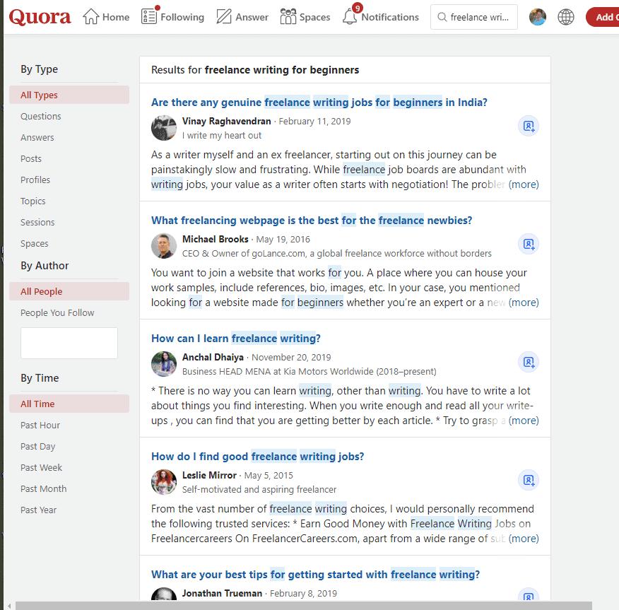 Quora freelance writing question