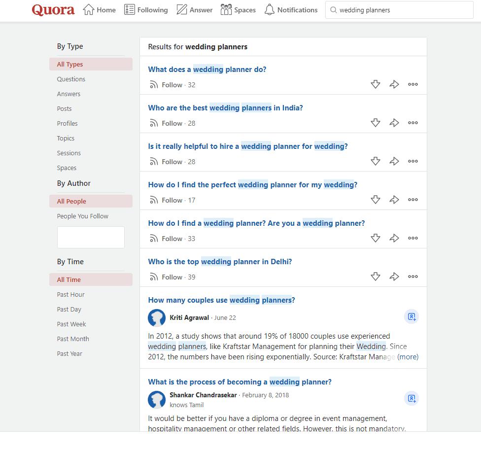 Quora wedding planner question