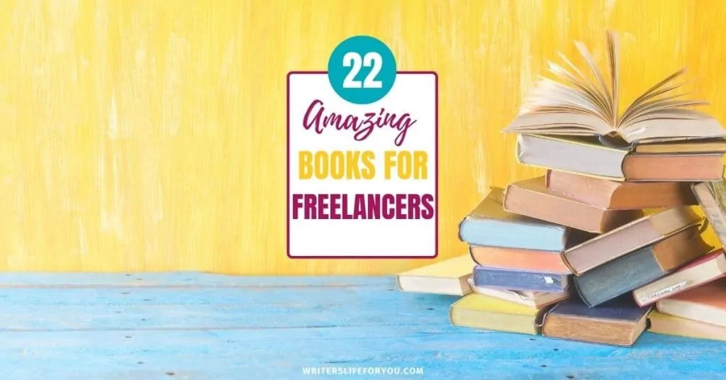 books of freelancing yellow and blue background with pile of books