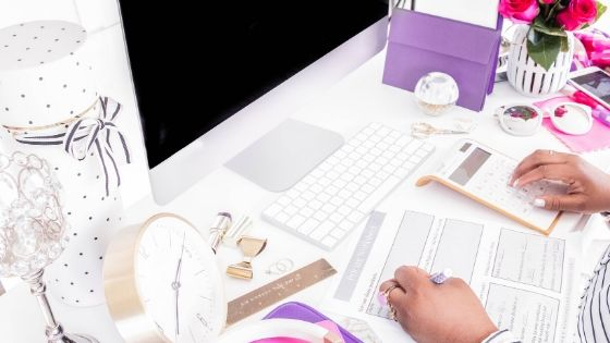 freelancer using calculator