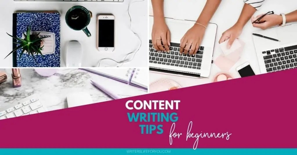 content writing tips three pictures with lap tops keyboard composition book