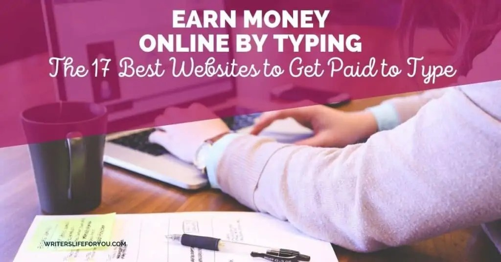 earn money online by typing person typing on a laptop with pen and paper