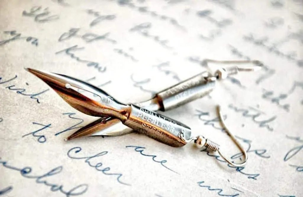 fountain pen quill earrings