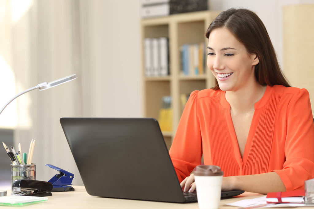 freelance woman working on computer