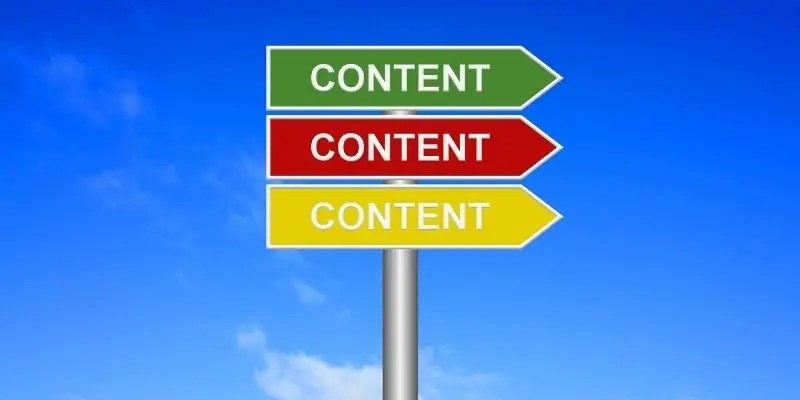 freelance writing client - sign that has three arrows that say content