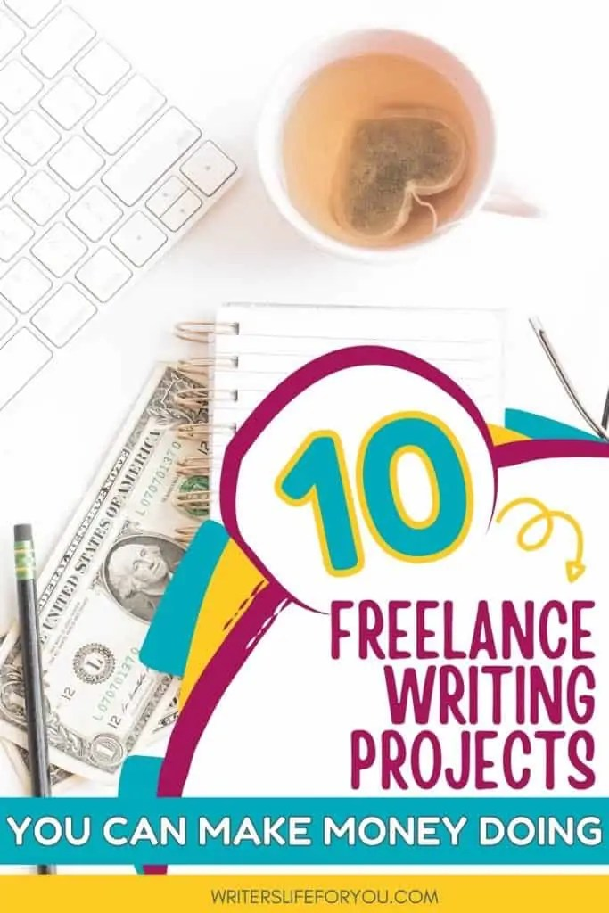 freelance writing projects tea cup, keyboard, money, and notebook