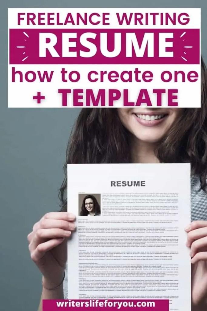 freelance writing resume woman holding up her resume