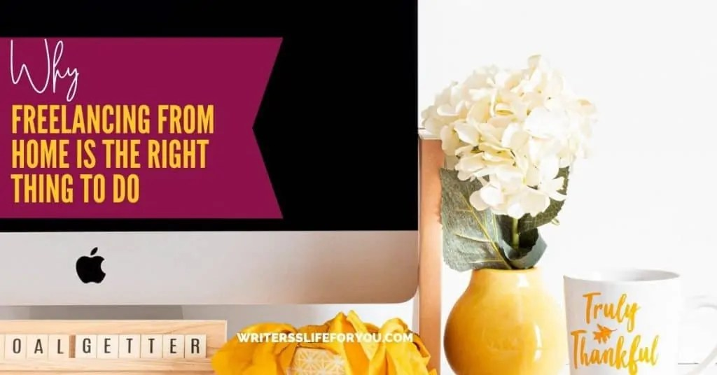 freelancing from home mac esk top with yellow vase and white coffee cup