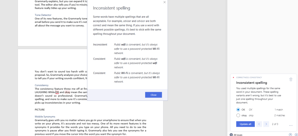 Grammarly inconsistent spelling