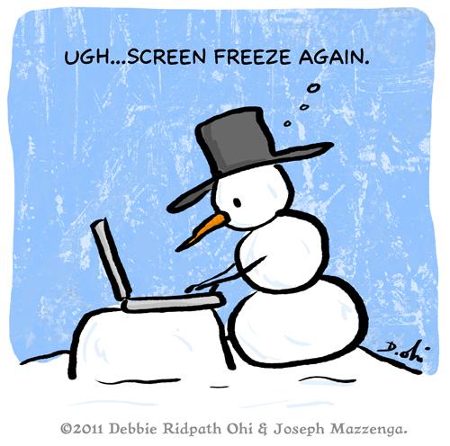 "Comic Caption Winner (""Snowman Writer""): Joseph Mazzenga"