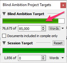 win progress bar for manuscript target