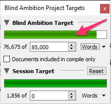 win progress bar for manuscript target