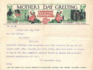 Telegram from PM Mackenzie King