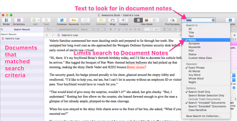 using project notes to search document notes