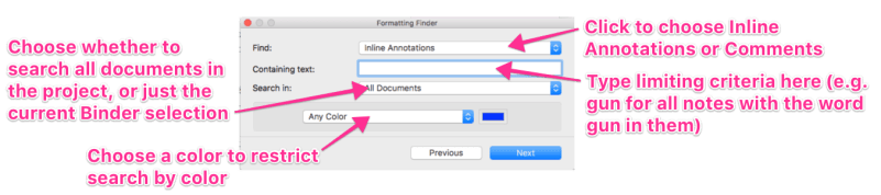 Formatting finder annotated