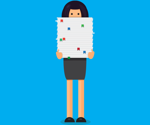 vector of woman carrying a stack of papers that reaches to her nose