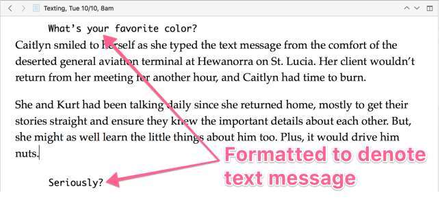 text in the Scrivener editor, some of it styled to denote a text message, annotated