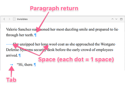 invisible characters annotated