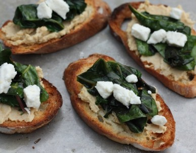 crostini with feta and chard | writes4food.com