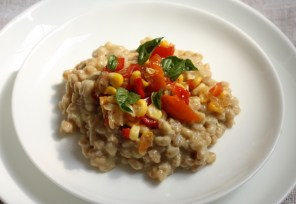 recipe for farro risotto with corn | writes4food.com
