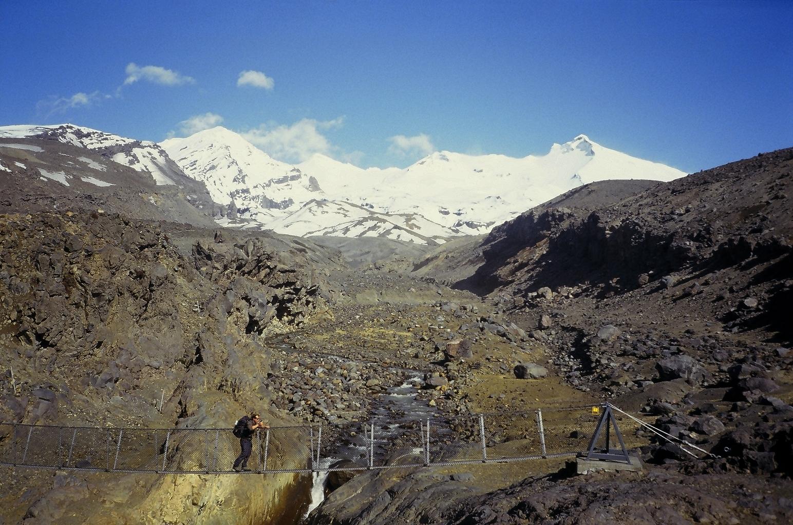Crossing a lahar gully beneath Mount Ruapehu