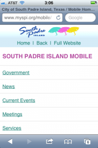 South Padre, Texas - Mobile Website