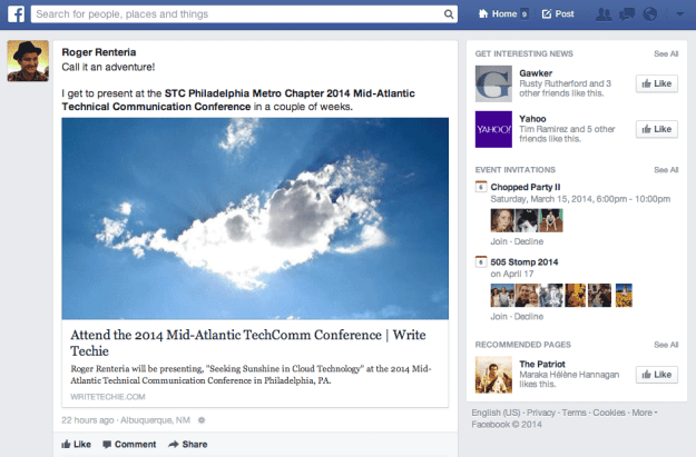 Facebook New Feed - Desktop