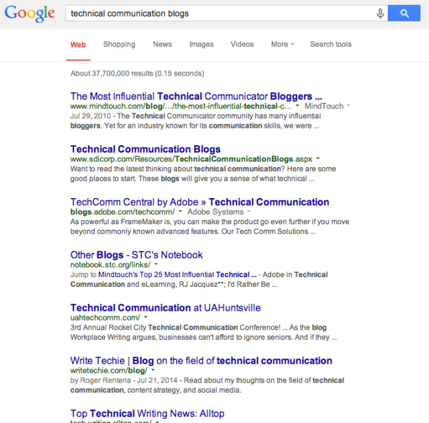 """Searching for """"technical communication blogs"""""""