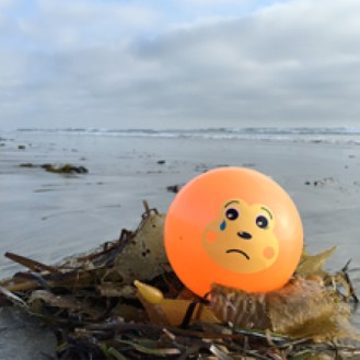 Sad ball left on the beach