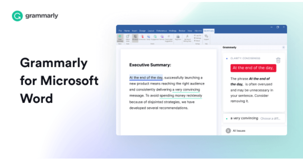Grammarly used on MS Word