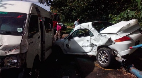 Several people got injuries resulting from a crash between a minibus and a car at La Caye, Dennery, on Friday.