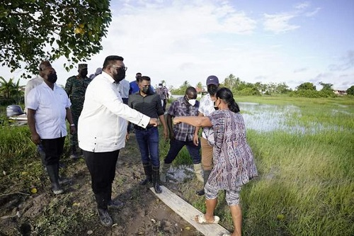 President Dr Ali inspected the flooded areas of Guyana