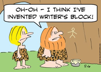 writing cartoon on writer's block