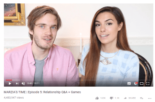 Pewds and Marzia having a good time