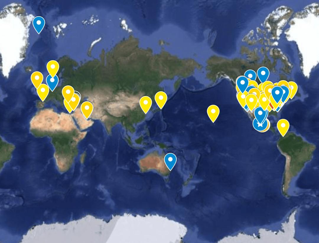 タグ付けされたIWCウィーク2021の地図は世界中にありました。