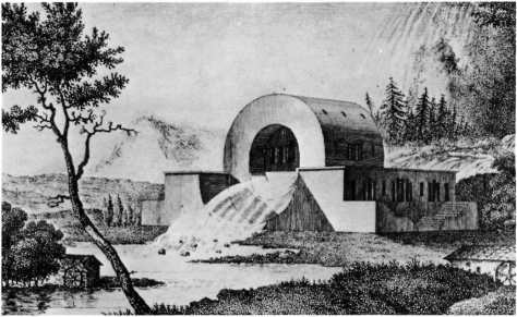 1784. the French architect Ledoux proposed a rather more than literal functionalism in this design tor a water inspector's house at the source of the River Loire. The river was allowed to run through the house. which was vaulted across the flow of the water.