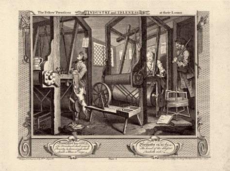 William Hogarth Industry and Idleness: plate 1. The Fellow 'Prentices at their Looms