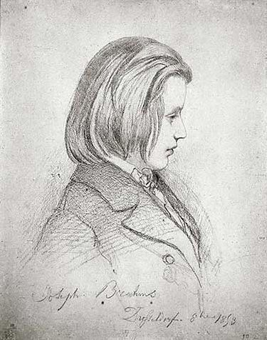 Johannes Brahms (1833-1897), pencil drawing (1853), by Jean-Joseph Bonaventure Laurens