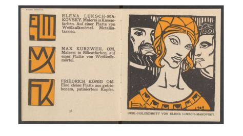 Elena Luksch-Makowsky, signature block and colour woodcut for the catalogue of the 14th exhibition of the Secession, 1902, 56-57. ONB/Vienna 202.262B Neu.Mag