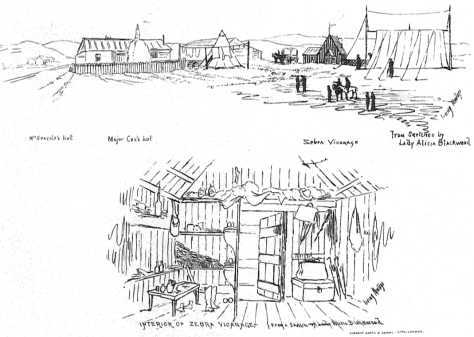 "Sketch of Mary Seacole's ""British Hotel"" in the Crimea, by Lady Alicia Blackwood (1818-1913)."
