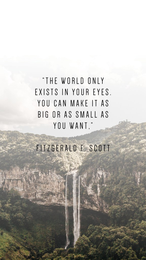 """THE WORLD ONLY EXISTS IN YOUR EYES. YOU CAN MAKE IT AS BIG OR AS SMALL AS YOU WANT,"""" FITZGERALD F. SCOTT QUOTE"""