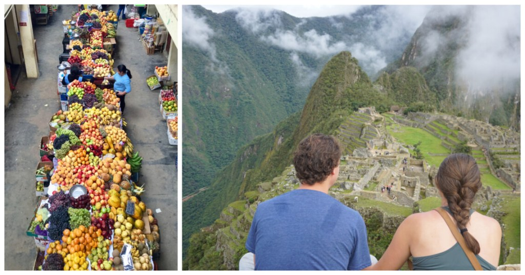 market in peru and me at machu picchu