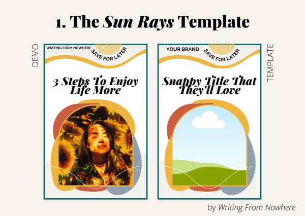 "Template #1 from the ""summertime"" pin template pack. This Pinterest template design is titled ""sun rays,"" and is shown first in demo form and then the template form"