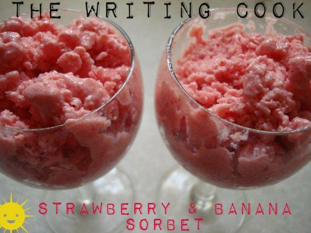 The Writing Cook: Strawberry Banana Sorbet