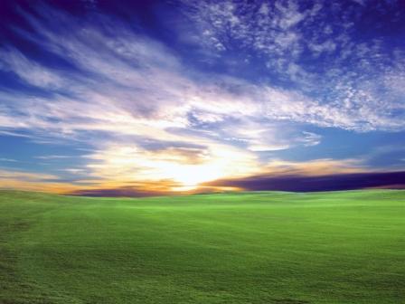 Grassy valley under a blue sky