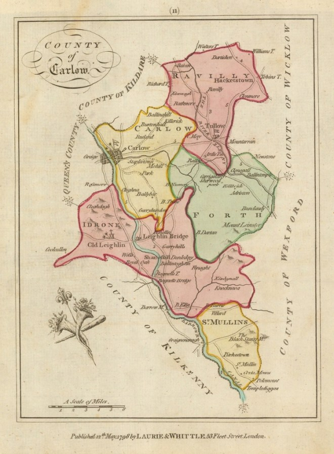 Laurie and Whittle Map of the County of Carlow from 1798