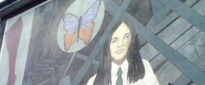 Painting of the famous Death of Innocence mural in Derry, Northern Ireland, featuring Annette McGavigan who was shot by a British soldier in 1971